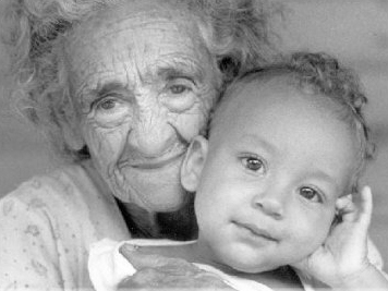 Elderly woman with infant